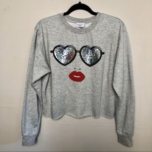 Mighty Fine Sequin Heart Sunglasses Red Lips Face